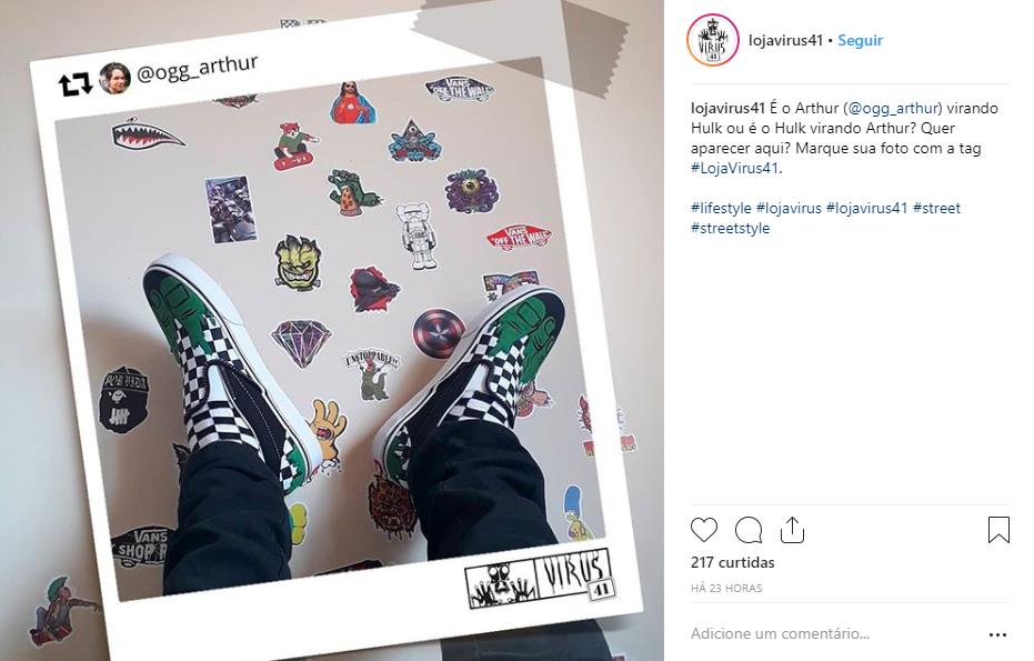 Exemplo de publicação no Instagram com participação dos seguidores
