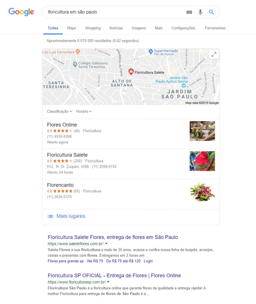 Exemplo da ferramenta Google Meu Negócio especificando a cidade