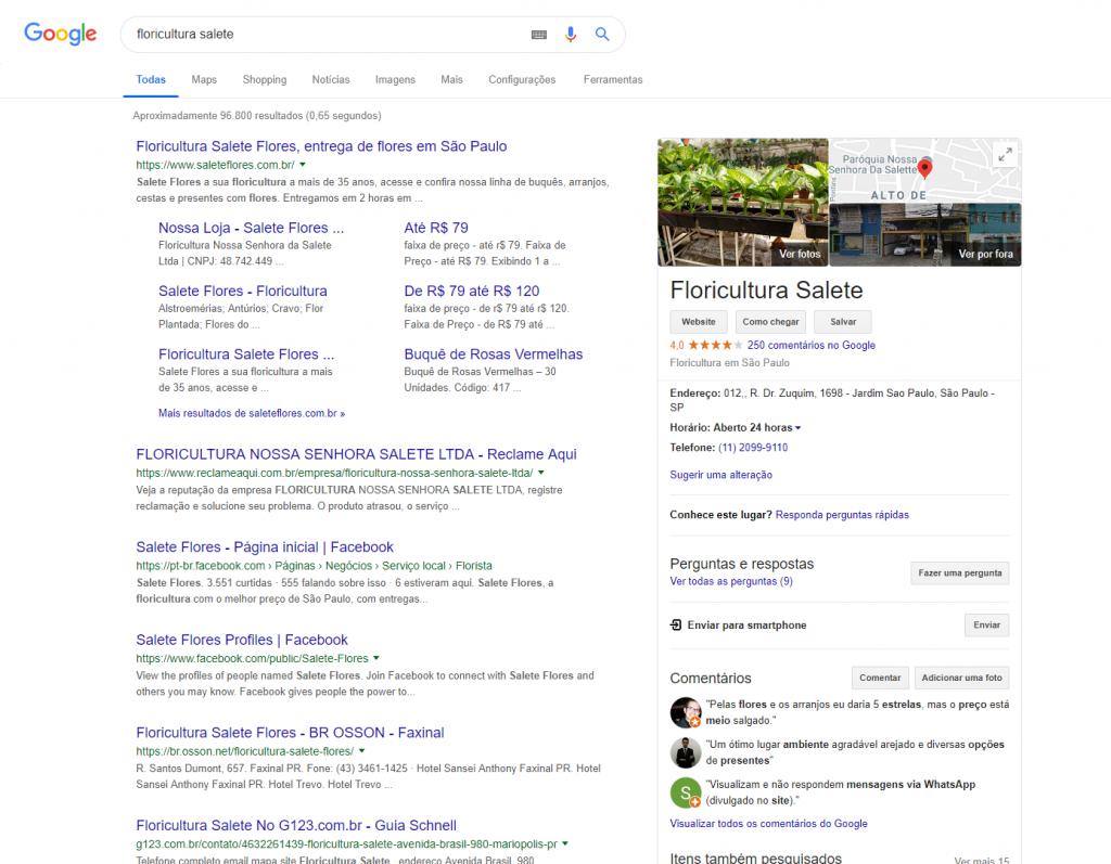 Exemplo da ferramenta Google Meu Negócio especificando o estabelecimento
