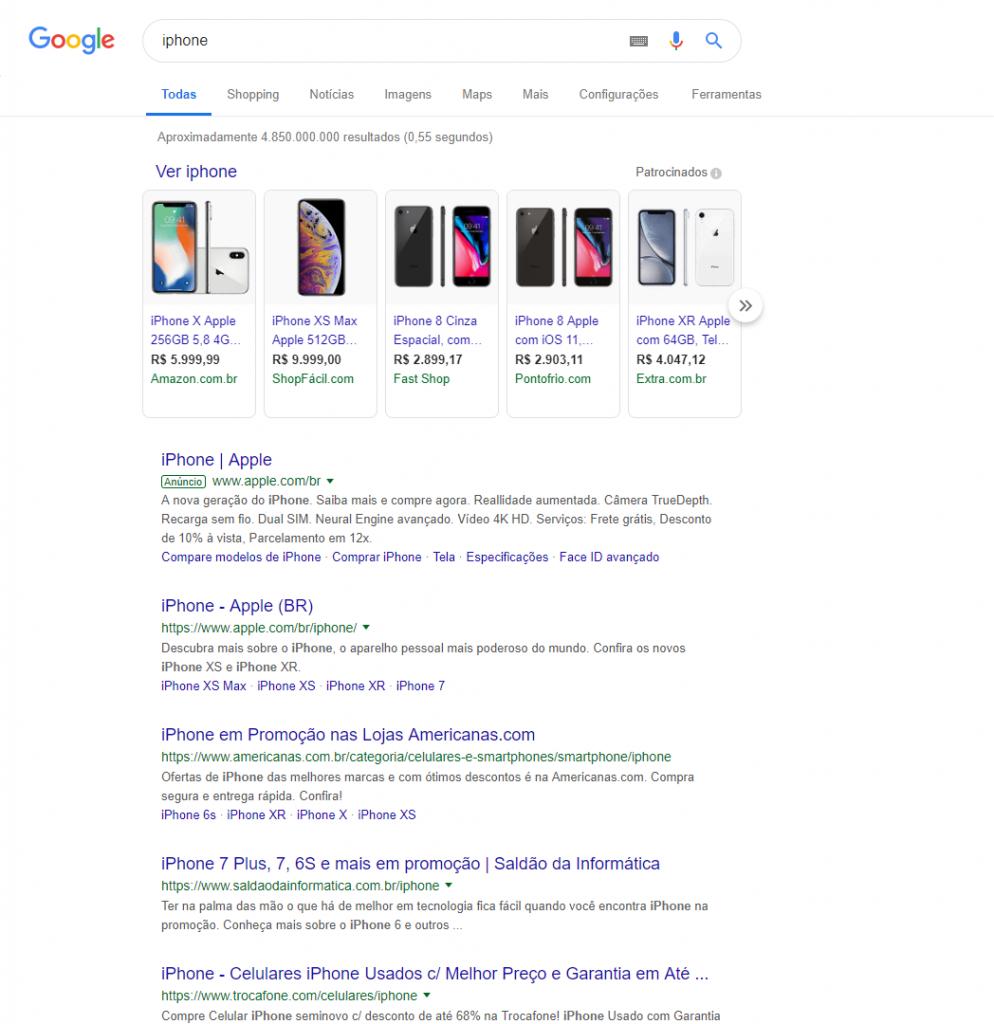 Exemplo de busca de produto no Google